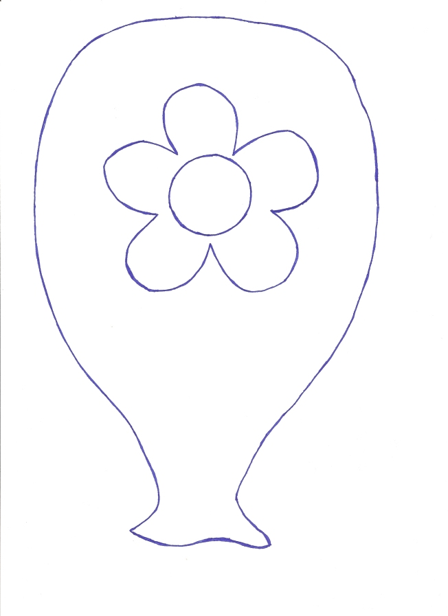 πατρόν μπαλόνι-λουλούδι σε φυσικό μέγεθος.
