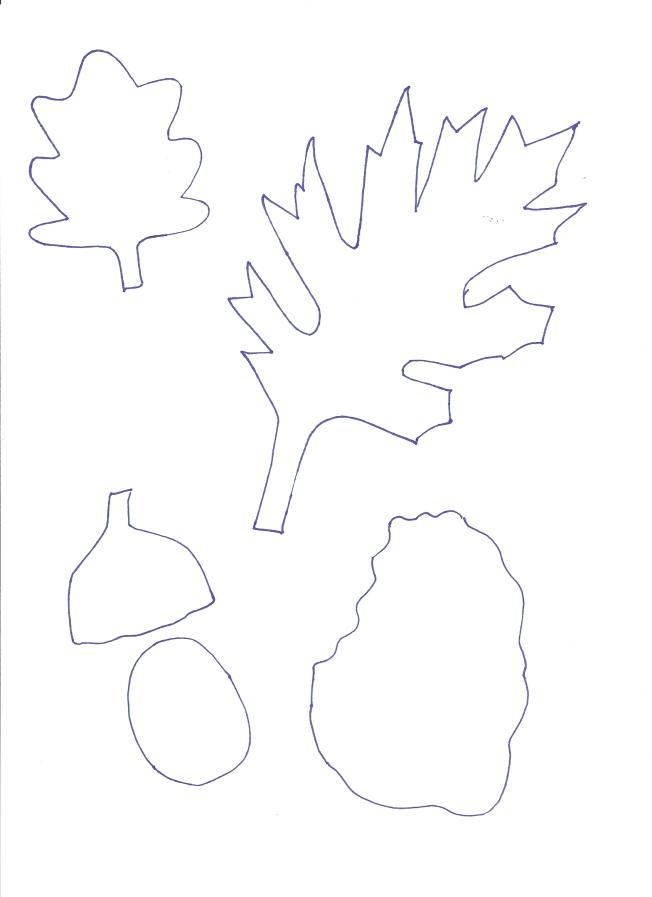 πατρόν φυλλαράκια και βελανιδάκι σε φυσικό μέγεθος