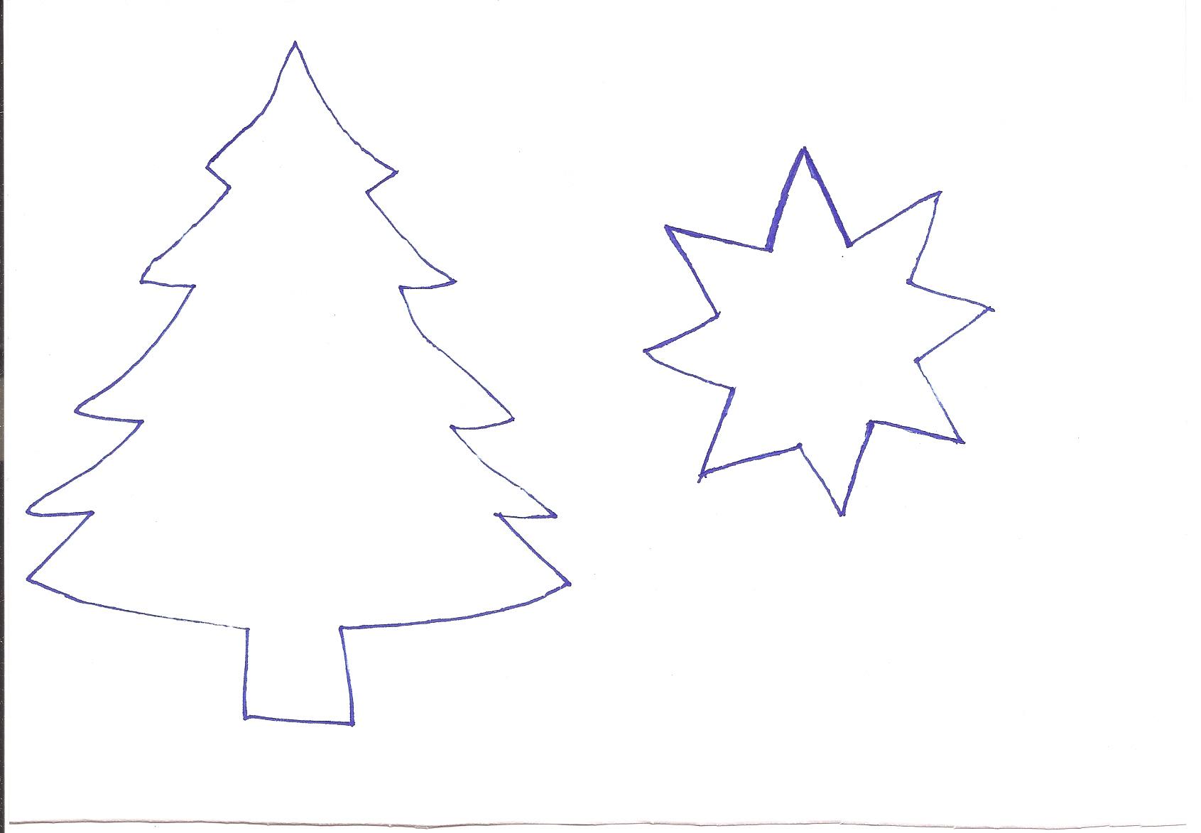 Трафарет-шаблок елки для рисования или кондитерских изделий + трафарет для пряника-звездочки